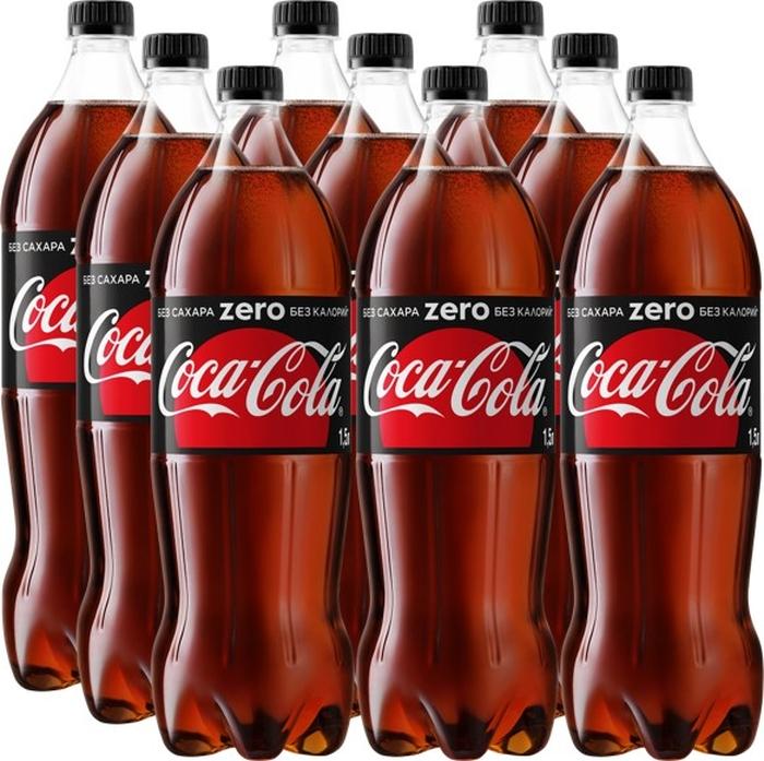 Coca-Cola Zero напиток сильногазированный 9 штук по 1,5 л coca cola напиток газированный 355 мл