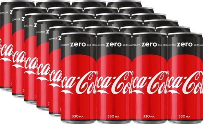 Coca-Cola Zero напиток сильногазированный 24 штуки по 0,33 л