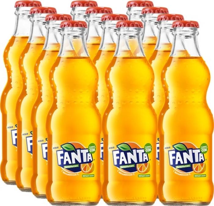 Fanta Апельсин напиток сильногазированный 12 штук по 0,25 л fanta цитрус напиток сильногазированный 1 5 л