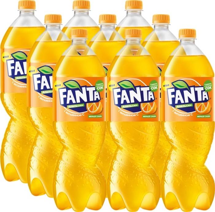 Fanta Апельсин напиток сильногазированный 9 штук по 1,5 л добрый pulpy апельсин напиток сокосодержащий с мякотью 0 9 л