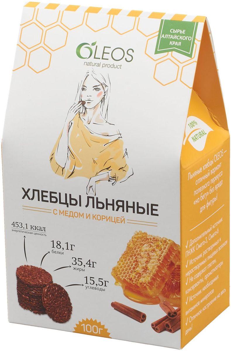 Oleos хлебцы льняные с медом и корицей, 100 г пастилки дыши с медом и корицей