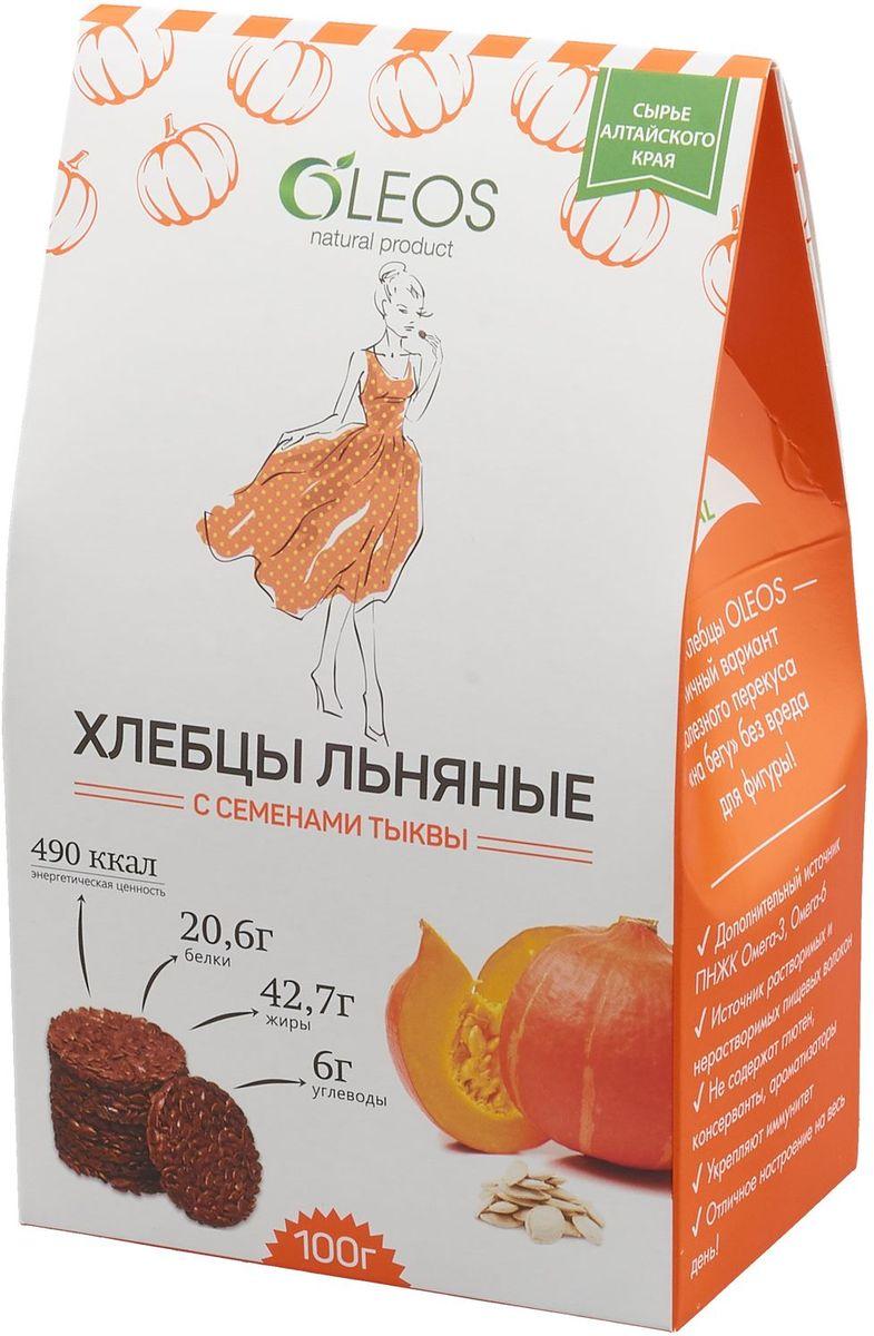 Oleos хлебцы льняные с семенами тыквы, 100 г сибирская клетчатка sk fiberia sport фитококтейль клетчатка клубника 350 г