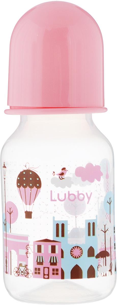Lubby Бутылочка с силиконовой соской Я люблю от 0 месяцев цвет розовый 125 мл
