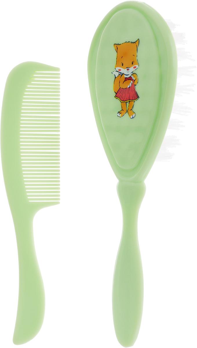Курносики Набор Щетка и расческа для волос цвет салатовый babyono набор детский расческа и щетка для волос цвет светло коралловый