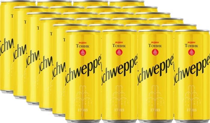 Schweppes Индиан Тоник напиток сильногазированный 24 штуки по 0,33 л schweppes bitter lemon напиток газированный 0 2 л