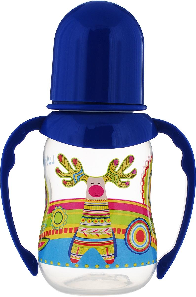 Lubby Бутылочка для кормления с силиконовой соской Русские мотивы с ручками от 0 месяцев 120 мл цвет: синий