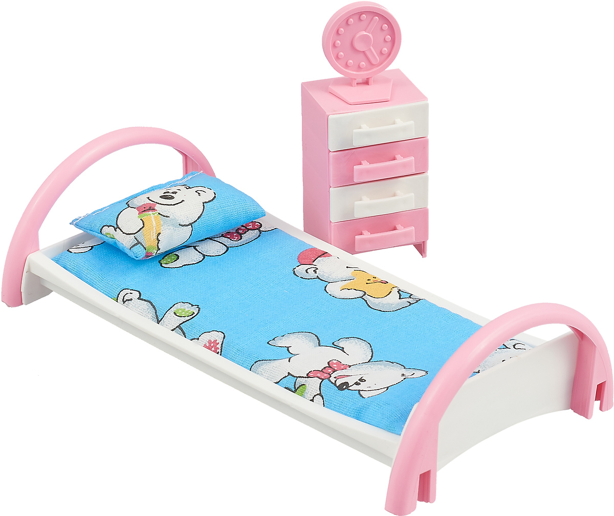 Форма Набор мебели для кукол Кровать с тумбочкой цвет голубой, белые мишки Форма Набор мебели для кукол Кровать с тумбочкой цвет голубой, белые...