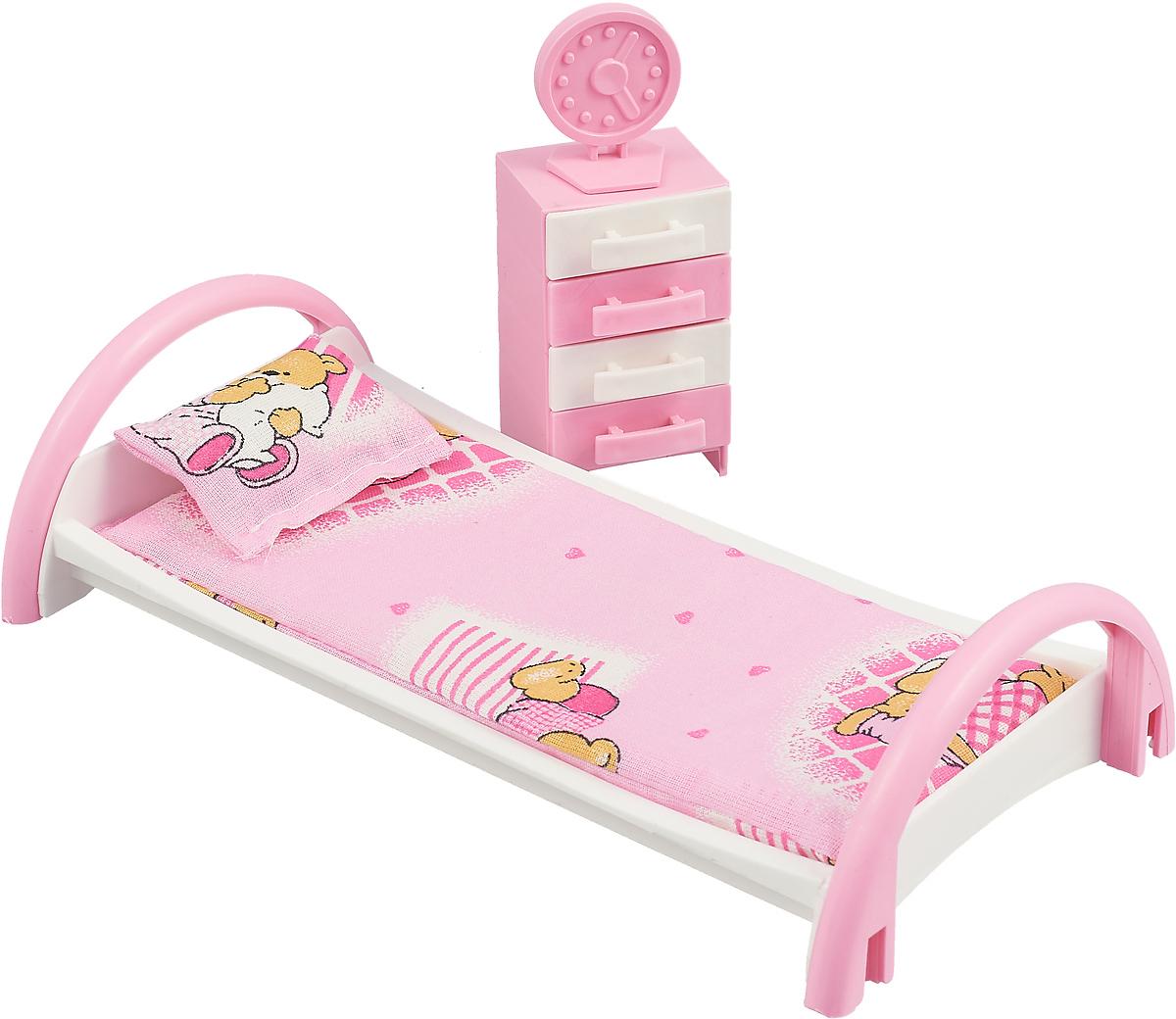 Форма Набор мебели для кукол Кровать с тумбочкой цвет розовый, мишки