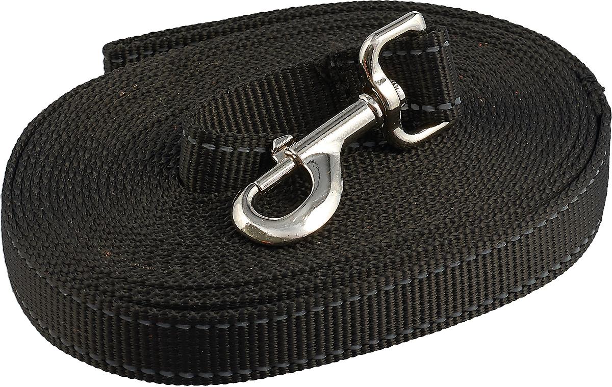Поводок капроновый для собак Аркон,ширина 2,5 см, длина 7 м водилка петля для собак аркон стандарт круглая цвет светло коричневый длина 32 см