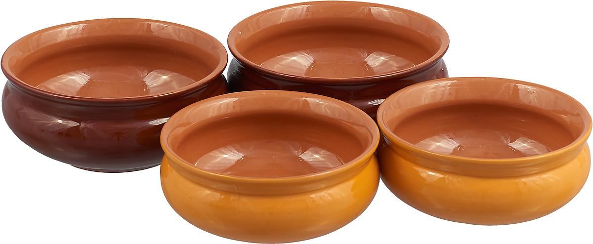 Набор тарелок Борисовская керамика Скифская, 4 шт цвет: темно-коричневый, светло-коричневый playboy светло коричневый 45 ярдов