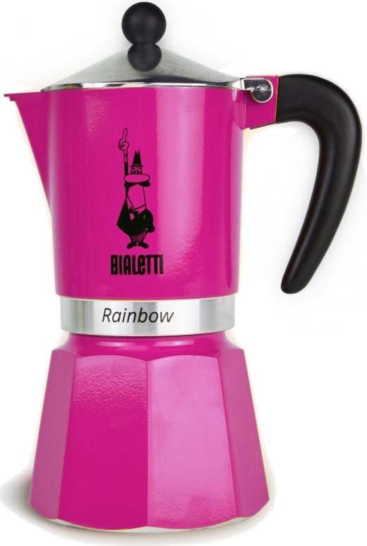 Кофеварка гейзерная Bialetti Rainbow, цвет: фуксия, на 6 чашек