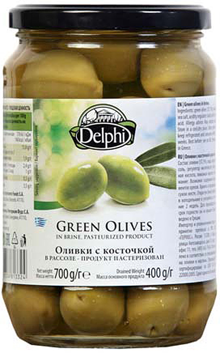 Delphi Оливки с косточкой рассоле, 700 г delphi маслины с косточкой натуральные в рассоле 350 г