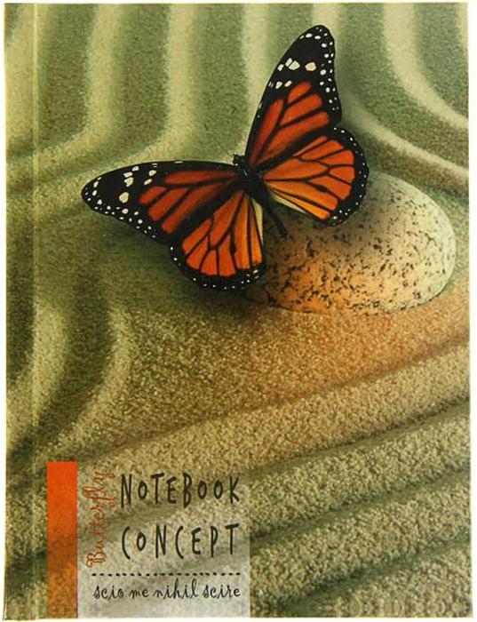 Бриз Бизнес-блокнот Бабочка 120 листов в клетку цвет зеленый красный