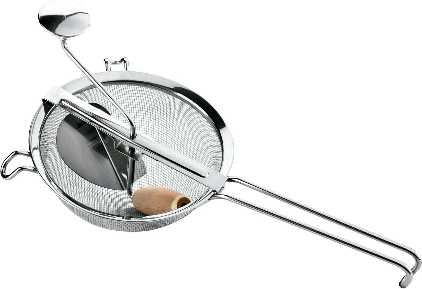 Отлично подходит для легкого и быстрого приготовления пюре из вареных овощей и соусов, фруктовых пюре и т.д. Изготовлено из высококачественной нержавеющей стали. Можно мыть в посудомоечной машине. Не мойте деревянный ролик в посудомоечной машине.