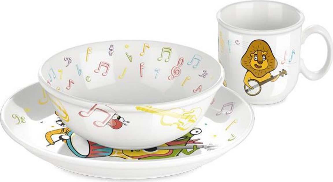 Набор посуды для детей из высококачественного фарфора с детскими мотивами. Для детей от 4 лет, подходит для микроволновых печей, можно мыть в посудомоечной машине. Гарантия 3 года. Перед первым использованием вымойте и высушите. При использовании в микроволновой печи помните, что пища нагревается неравномерно и может обжечь.