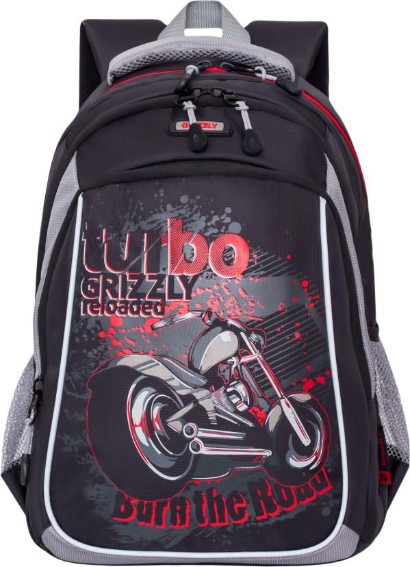 Grizzly Рюкзак школьный цвет черный серый RB-860-3/2 grizzly рюкзак цвет серый оранжевый rb 733 2 4
