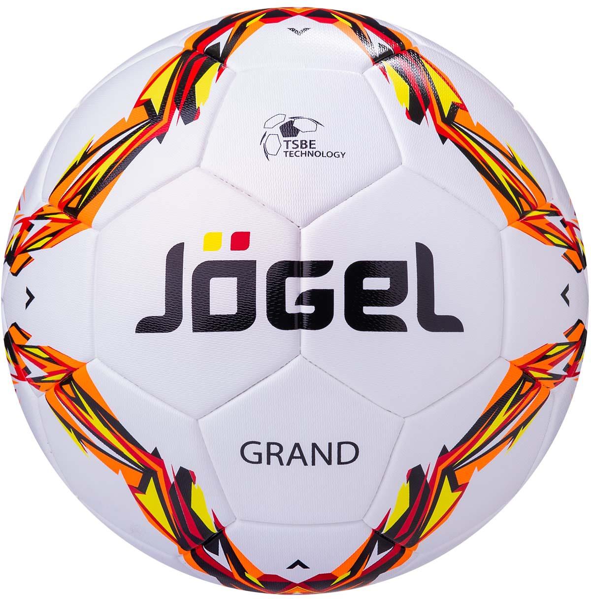 """Мяч футбольный Jogel JS-1000 Grand №5 Категория: Профессиональный мяч Коллекция: 2017/2018 Описание: Jogel JS-1000 Grand - профессиональный футбольный мяч, сделанный по технологии термосклеивания TSBE Technology. Благодаря этому, мяч обладает идеально круглой формой, герметичен и практически не пропускает влагу вовнутрь, а давление в мяче распределяется равномерно.  Поверхность мяча выполнена из высококачественной синтетической кожи (полиуретан) толщиной 3.0 мм и обладает текстурной поверхностью, улучшающий контроль мяча при любых погодных условиях. Мяч оснащен бутиловой камерой, армированной синтетической нитью, благодаря чему обеспечивается отличный баланс и долгое сохранение воздуха в камере. Данный мяч поставляется с завода-изготовителя в приспущенном состоянии для безопасной транспортировки и хранения. Не рекомендуется спускать данные мячи, во избежание нарушения термосшивки панелей. Рекомендован для тренировок и соревнований команд высокого уровня. Уникальной особенностью, характерной для бренда Jogel, является традиционная конструкция мячей из 30 панелей. Привлекательный дизайн Коллекции 2017/2018 ярко выделяет мячи Jogel на витрине. Данный мяч подходит для поставок на гос. тендеры. Официальный размер и вес FIFA.  Полезная статья """"Как выбрать футбольный мяч"""".  TSBE Technology.png  оптимальный отскок улучшенный контроль мяча минимальное влагопоглощение Рекомендованные покрытия: натуральный газон, синтетическая трава  Материал поверхности: Синтетическая кожа (полиуретан) толщиной 3.0 мм Материал камеры: Бутил Тип соединения панелей: Термосклеивание (термосшивка) Количество панелей: 30 Размер: 5"""