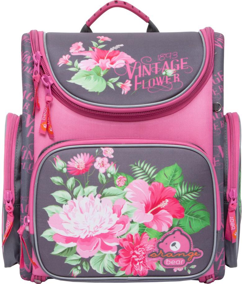 Orange Bear Рюкзак школьный Flowers цвет розовый серый пенал школьный феникс серый 20 10см силикон застеж молния объемный 3d дизайн 40235