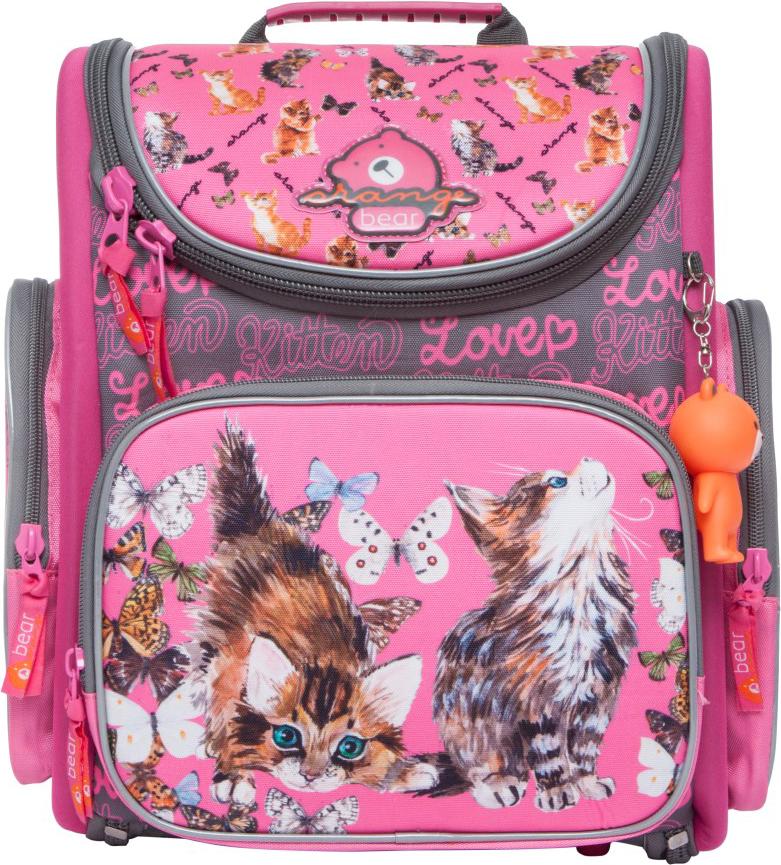 Orange Bear Рюкзак школьный Cats цвет розовый серый пенал школьный феникс серый 20 10см силикон застеж молния объемный 3d дизайн 40235