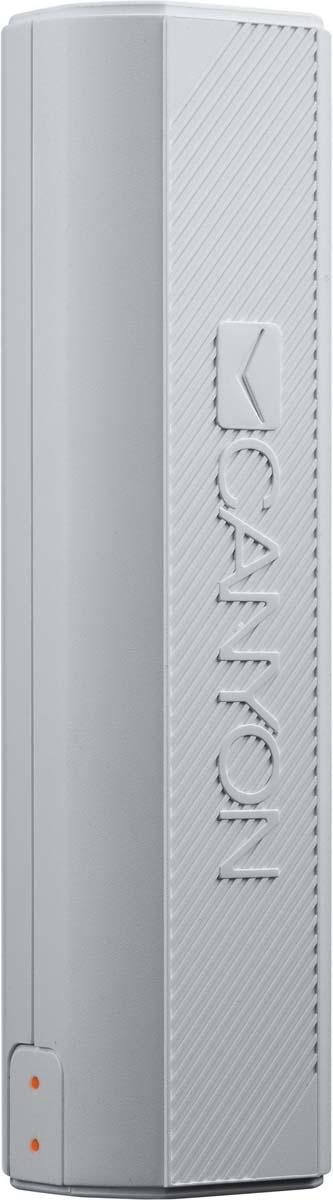 Canyon CNE-CPBF26W, White внешний аккумулятор (2600 мАч) 2600mah power bank usb блок батарей 2 0 порты usb литий полимерный аккумулятор внешний аккумулятор для смартфонов светло зеленый