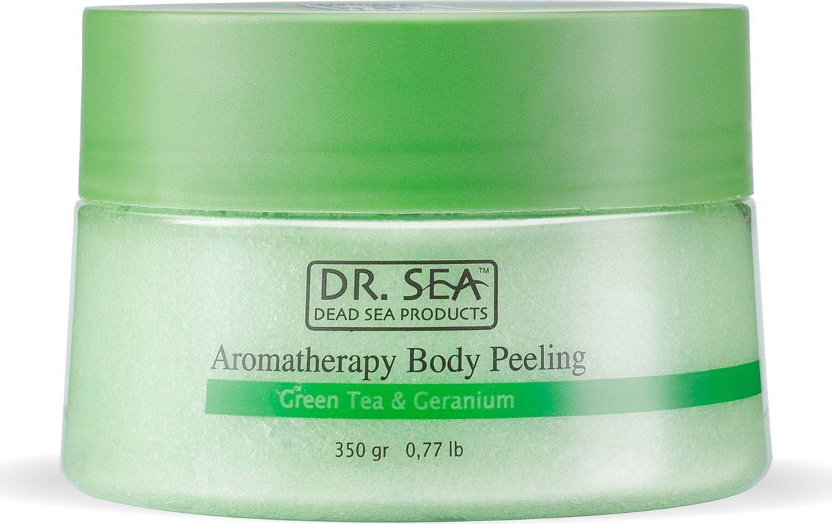 Dr.sea Ароматический пилинг для тела с экстрактом зеленого чая и маслом герани, 320 г dr sea соль мертвого моря с лепестками роз 500 г