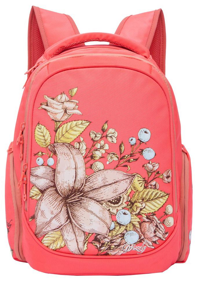 Grizzly Рюкзак школьный цвет коралловый RG-867-1/3 рюкзак grizzly rg 867 2 2 fuchsia