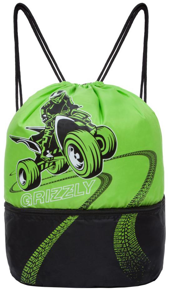 Grizzly Мешок для обуви цвет салатовый черный OM-847-1/1 мешок для обуви grizzly om 846 7