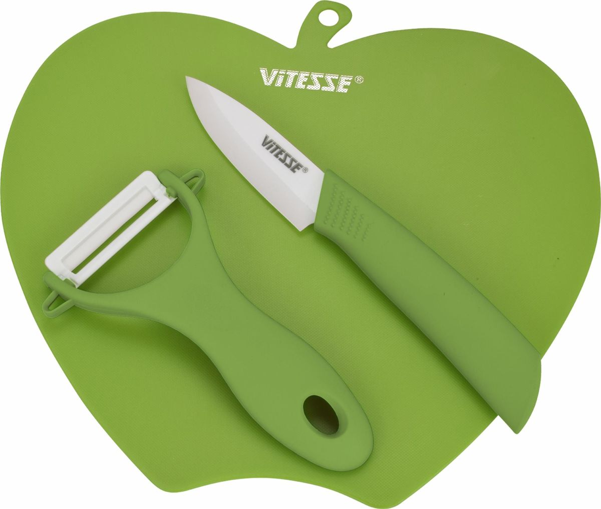 Кухонный набор из 3-х предметовМатериал лезвия ножа и овощечистки - высококачественная керамикаНе подвержены коррозии и просты в уходеУдобные цветные рукоятки