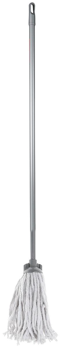 Швабра Home Queen веревочная, с съемной ручкой, цвет: серый, белый