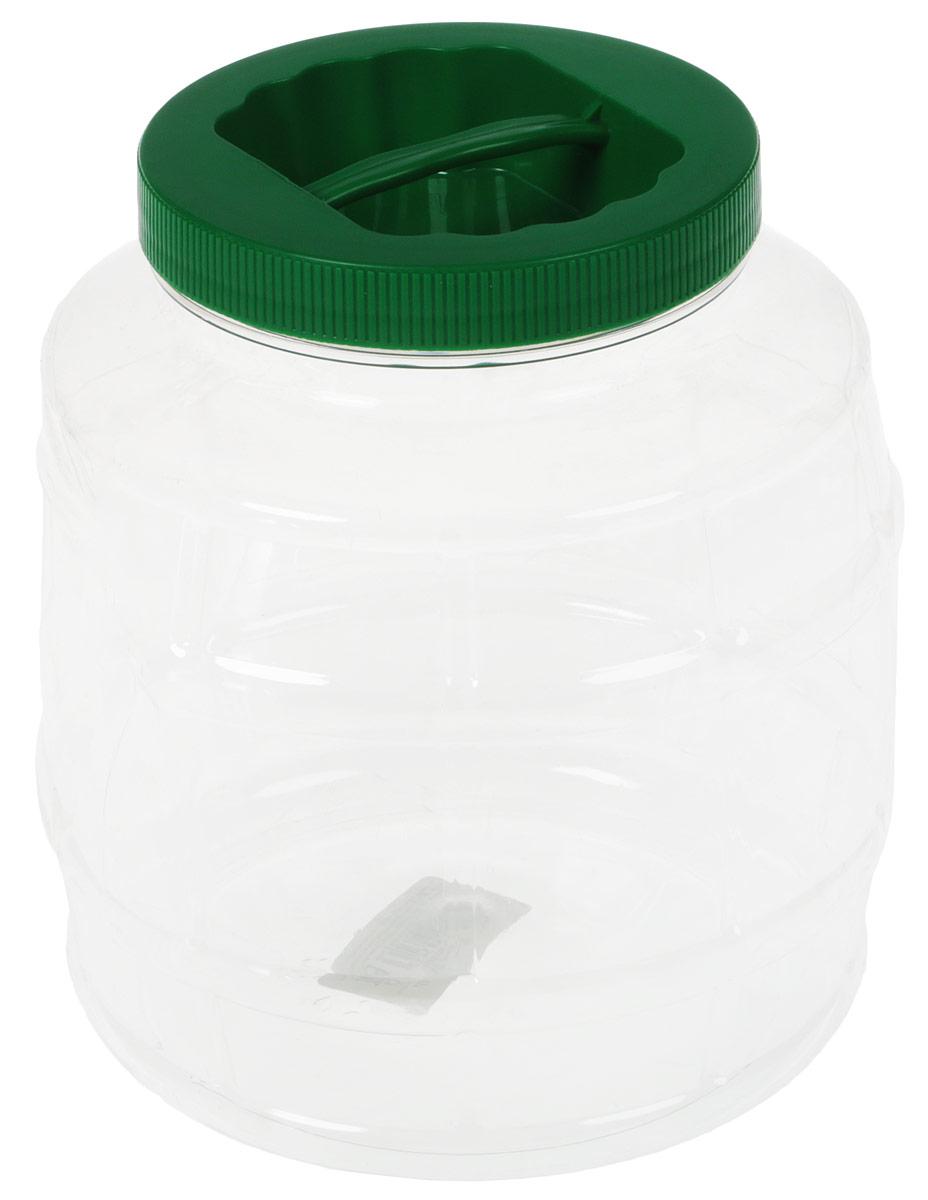 Емкость Альтернатива Бочонок, с ручкой, цвет: темно-зеленый, 3 л канистра для жидкостей альтернатива бочонок 15 л