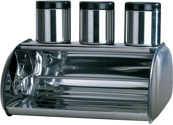 Хлебница. 3 емкости для сыпучих продуктов. Нержавеющая сталь. Размер: 44х27,5х18,5 см.
