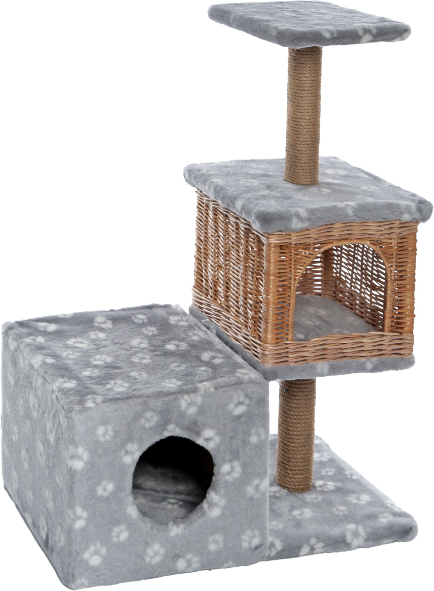 Домик-когтеточка Меридиан Квадратный трехэтажный с двумя окошками. Лапки, цвет: серый, белый, 66 х 36 х 94 см домик когтеточка меридиан квадратный 2 ярусный с игрушкой цвет белый черный бежевый 50 х 36 х 75 см