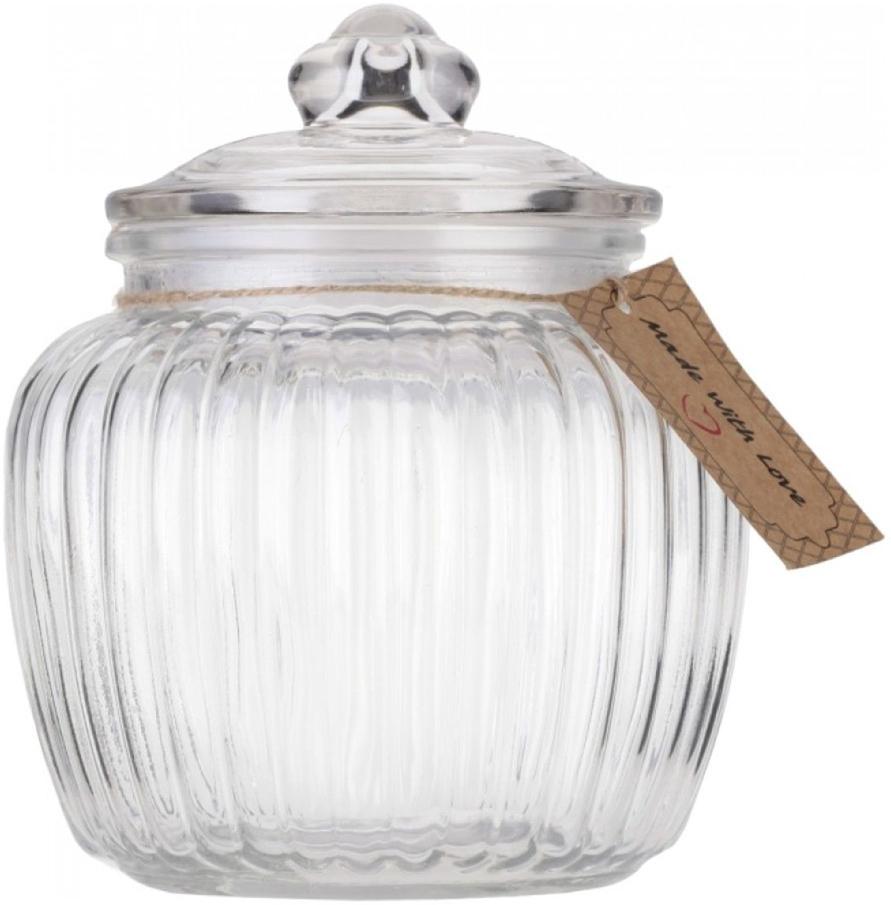 """Банка для хранения Walmer """"Wave"""" изготовлена из прочного граненого стекла. Изделие снабжено крышкой, которая плотно закрывается благодаря силиконовой прослойке. Изделие имеет прозрачные стенки, поэтому всегда видно, что именно находится внутри. Банка удобна для хранения круп, сахара, специй, кофе или чая. Она стильно дополнит интерьер и поможет эффективно организовать пространство на кухне.  Диаметр (по верхнему краю): 10,5 см.  Высота (без учета крышки): 13 см.  Высота (с учетом крышки): 18 см."""