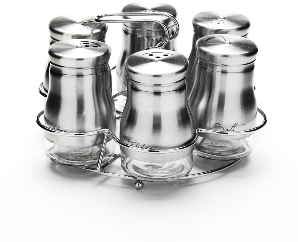 """Набор для специй """"Mayer & Boch"""" состоит из шести баночек и подставки. Баночки выполнены из стекла и высококачественной нержавеющей стали, оснащены плотно закручивающимися крышками, которые имеют три варианта добавления специй: через мелкие, средние или крупные отверстия. Для баночек предусмотрена металлическая подставка с ручкой.  Набор для специй """"Mayer & Boch"""" стильно оформит интерьер кухни и станет незаменимым при приготовлении пищи. Компактный, не занимает много места и всегда будет под рукой.   Диаметр баночки (по верхнему краю): 3,5 см.  Высота баночки (с крышкой): 9 см.  Объем баночки: 140 мл.  Размер подставки: 17,5 см х 17,5 см х 12 см."""