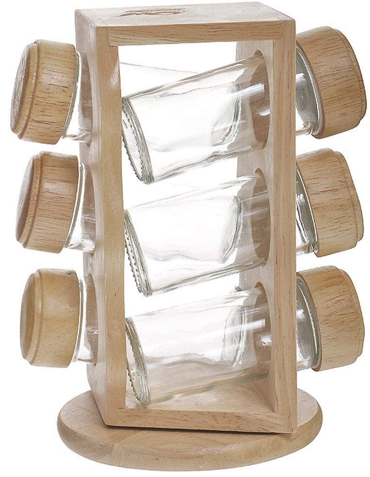 """Набор для специй """"Oriental way"""" представляет собой вращающуюся полку с шестью стеклянными емкостями. Подставка изготовлена из дерева гевея. Емкости для специй, выполненные из стекла, имеют перфорированную пластиковую накладку и завинчивающуюся деревянную крышку.   Особенности набора """"Oriental way"""":    высокое качество шлифовки поверхности изделий;   двухслойное покрытие пищевым лаком, безопасным для здоровья человека;   степень влажности 8-10%, не трескается и не рассыхается;   высокая плотность структуры древесины;   устойчивость к механическим воздействиям. Характеристики:  Материал: дерево (гевея), стекло. Объем емкости для специй: 75 мл. Диаметр емкости для специй: 4 см. Высота емкости для специй: 10 см. Диаметр основания подставки: 12 см. Высота подставки: 20 см. Размеры упаковки: 13,5 см х 12,5 см х 20,5 см. Артикул: S4036W.   Торговая марка """"Oriental way"""" известна на рынке с 1996 года. Эта марка объединяет товары для кухни, изготовленные из дерева и других материалов. Все товары марки """"Oriental way"""" являются безопасными для здоровья, экологичными, прочными и долговечными в использовании."""