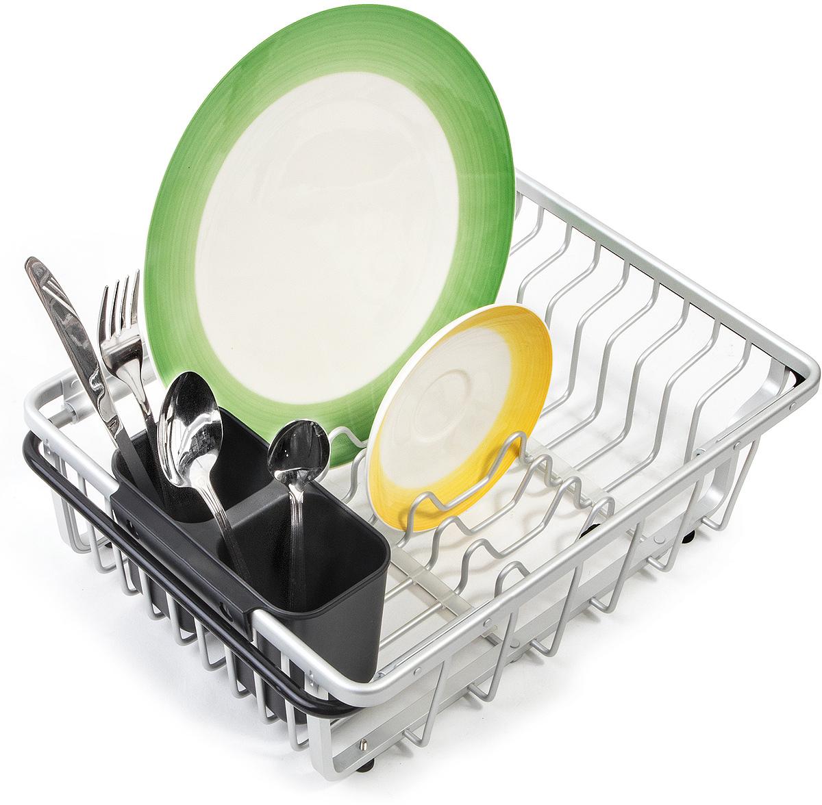 Tatkraft BRAINY Сушилка для посуды на раковину, L36-54xH13xD28 cm, Умная конструкция сохранения пространства. Противоскользящие регулируемые ножки, в случае неровной поверхности. Выдвижная: удобно размещать на раковине. Съемный держатель для столовых приборов со сливными отверстиями. Без Коррозии! Материал: анодированный алюминий, ПП