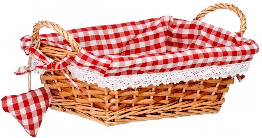 """Прямоугольная корзинка для хлеба """"Premier"""" сплетена из лозы. На внутреннюю поверхность корзинки надет хлопковый чехол с рисунком в красную клетку, благодаря ему крошки не просыпаются на стол. Корзинка оснащена двумя удобными ручками и украшена текстильной подвеской в виде сердечка. В холодный зимний день приятная цветовая гамма корзинки в сочетании с оригинальным дизайном навевают воспоминания о лете, тем самым способствуя улучшению настроения и полноценному отдыху."""