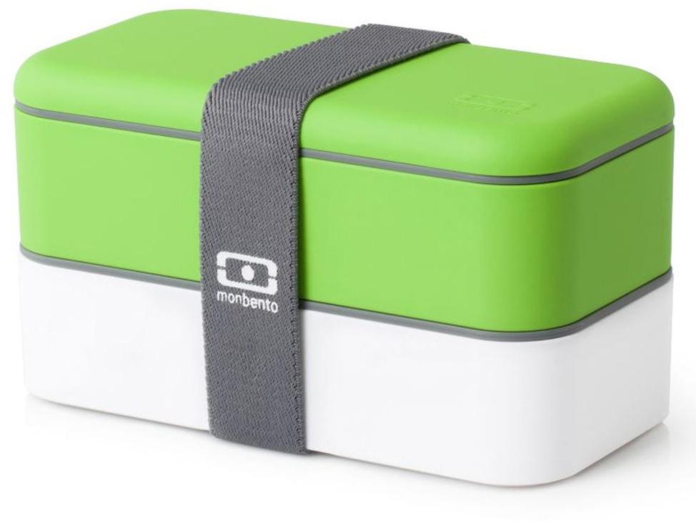 """Ланчбокс Monbento """"Original"""" изготовлен из высококачественного пищевого пластика с приятным на ощупь прорезиненным покрытием soft-touch. Предназначен для хранения и переноски пищевых продуктов. Ланчбокс представляет собой два прямоугольных контейнера, в которых удобно хранить различные блюда. В комплекте также предусмотрена емкость для соуса, которая удобно помещается в одном из контейнеров. Контейнеры вакуумные, что позволяет продуктам дольше оставаться свежими и вкусными. Боксы дополнительно фиксируются друг над другом эластичным ремешком.  Компактные размеры позволят хранить ланчбокс в любой сумке. Его удобно взять с собой на работу, отдых, в поездку. Теперь любимая домашняя еда всегда будет под рукой, а яркий дизайн поднимет настроение и подарит заряд позитива.  Можно использовать в микроволновой печи и для хранения пищи в холодильнике, можно мыть в посудомоечной машине. В крышке каждого контейнера - специальная пробка, которую надо вытащить, если вы разогреваете еду.  Объем одного контейнера: 0,5 л.  Общий размер ланчбокса: 18 см х 9 см х 10,5 см.  Размер контейнера: 18 см х 9 см х 4,5 см.  Размер емкости для соуса: 8,5 см х 4,5 см х 3 см. Объем емкости для соуса: 0,1 л."""