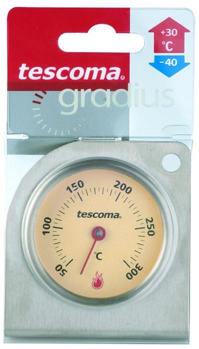 """Термометр для духовки """"Gradius""""   настоящий помощник для любой хозяйки. Корпус термометра изготовлен из первоклассной нержавеющей стали с акцентом на точность и функциональность. Он помогает точно соблюдать рецептуру, безопасно уничтожать все вредные для здоровья бактерии. Термометр измеряет внутреннюю температуру во время приготовления в духовке, рассчитан на температуру нагрева  от  плюс 50°C до плюс 300°C. Пригоден для газовых, электрических и горячевоздушных плит. Благодаря небольшому крючку его можно подвесить на решетке внутри духового шкафа.  Характеристики: Материал:  сталь.  Размер:   7  см х 8 см х 4 см. Производитель: Чехия. Артикул: 636154."""