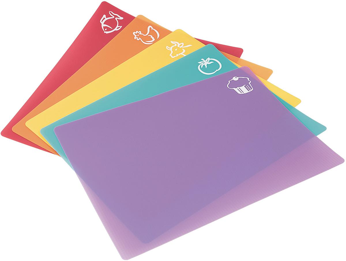 Tatkraft PIC Гибкие pазделочные доски, 5 шт. в наборе. L38xH0.1xD30.5 cm, облегчают приготовление. Легко сложить, чтобы переложить продукты, Не скзользят, ребристое основание. Разноцветные доски с пиктограмами продуктов. Материал: Пластик
