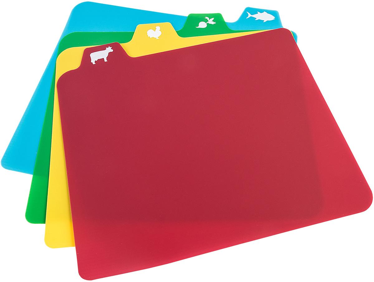 Tatkraft QUATRO Гибкие pазделочные доски, 4 шт. в наборе. L30xH0.1xD36 cm, облегчают приготовление. Легко сложить, чтобы переложить продукты, Не скзользят, ребристое основание. Разноцветные доски с пиктограмами продуктов. Материал: Пластик