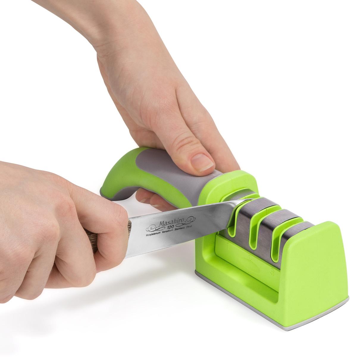 Wonder Worker SHARP Точилка для ножа, L21.5xH5.5xD5 cm, №1 Грубая заточка. №2 Тонкая заточка №3 Шлифовка. Панель из нержавеющей стали. Простой захват эргономичный tpr ручка, нескользящая резиновая основа. Материал: ABS-пластмасса, TPR, нержавеющая сталь