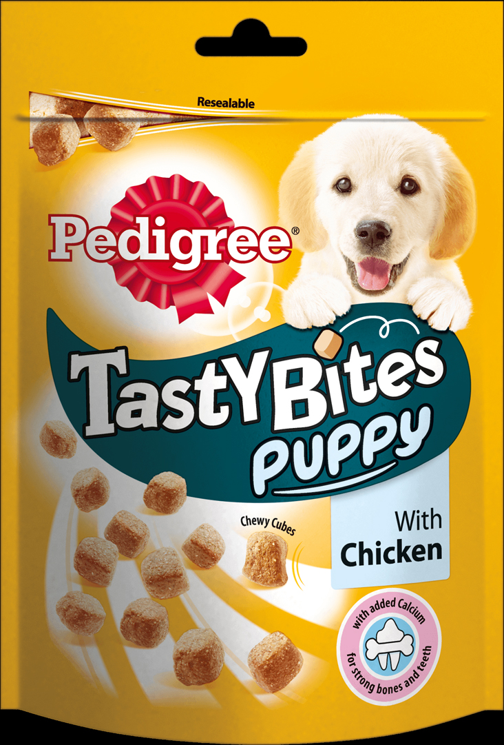 Лакомство для щенков Pedigree Tasty Bites Puppy, ароматные кусочки с курицей, 125 г pedigree лакомство pedigree tasty bites для собак в форме ароматных кусочков с курицей 130 г