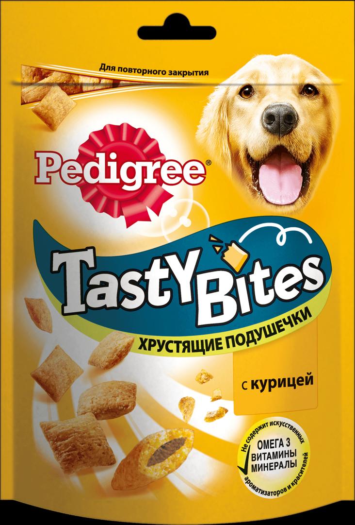 Лакомство для взрослых собак Pedigree Tasty Bites, хрустящие подушечки с курицей, 95 г pedigree лакомство pedigree tasty bites для собак в форме ароматных кусочков с курицей 130 г