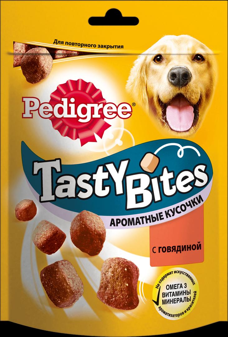 Лакомство для взрослых собак Pedigree Tasty Bites, ароматные кусочки с говядиной, 130 г pedigree лакомство pedigree tasty bites для собак в форме ароматных кусочков с курицей 130 г