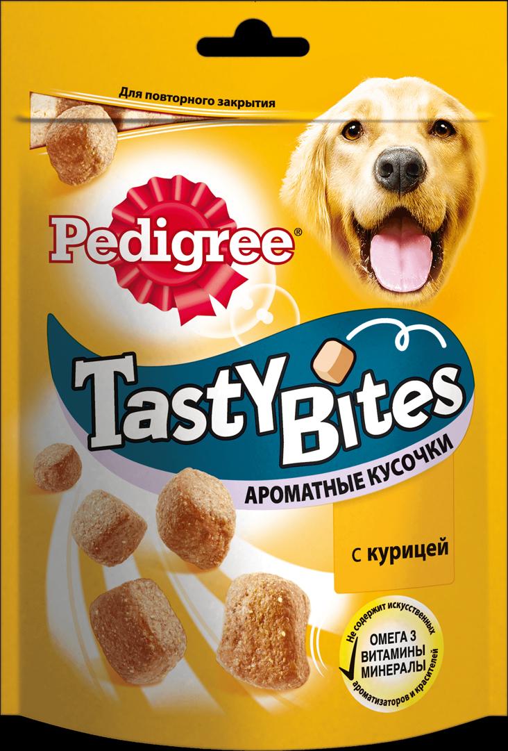 Лакомство для взрослых собак Pedigree Tasty Bites, ароматные кусочки с курицей, 130 г pedigree лакомство pedigree tasty bites для собак в форме ароматных кусочков с курицей 130 г
