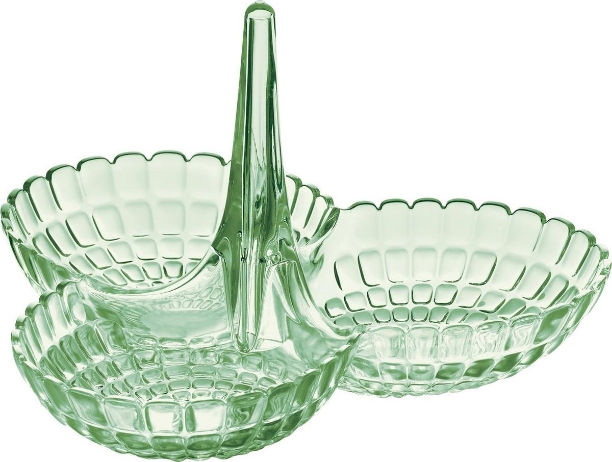 Менажница Tiffany представляет собой три одинаковых по размеру чаши, соединенных посередине вертикальной удобной ручкой. Её можно использовать для подачи снеков, легких закусок, орехов и сладостей. Дизайн менажницы отличается оригинальной рельефной формой, которая в сочетании с прозрачным материалом заставляет поверхность сверкать и переливаться на свету. Менажница отлично подойдет для праздничной сервировки стола и привлечет внимание гостей. Будет одинаково хорошо смотреться как в квартире, так и на летней веранде на даче.Изготовлена из высококачественного органического стекла, устойчивого к износу и повреждениям. Не содержит вредных примесей и бисфенола-А. Моется вручную.