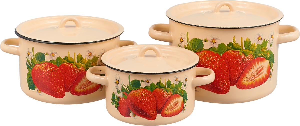 Набор кастрюль СтальЭмаль Клубника садовая с крышками, цвет: кремовый, 6 предметов