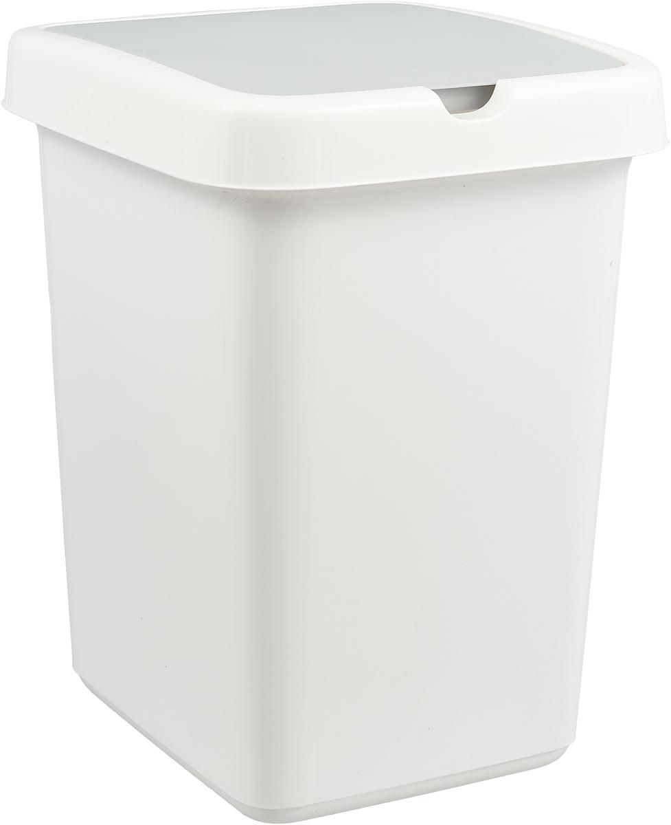 Бак мусорный Svip Квадра, цвет: белый, 25 л twistshake контейнер для сухой смеси 2 шт 100 мл фиолетовый 780027