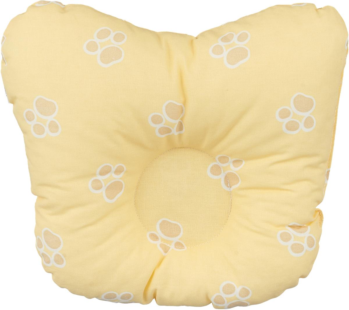 Сонный гномик Подушка анатомическая для младенцев Лапки цвет желтый 27 х  см